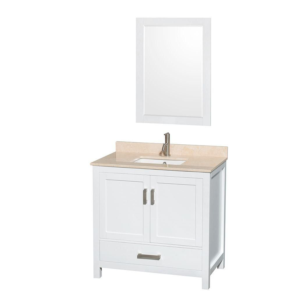 Wyndham Collection Sheffield 36-inch W 1-Drawer 2-Door Vanity in White With Marble Top in Beige Tan With Mirror