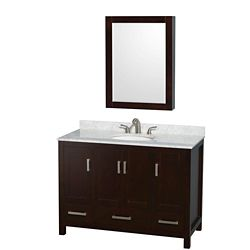 Wyndham Collection Sheffield 48-inch 3-Drawer 4-Door Freestanding Vanity in Brown With Marble Top in White With Mirror