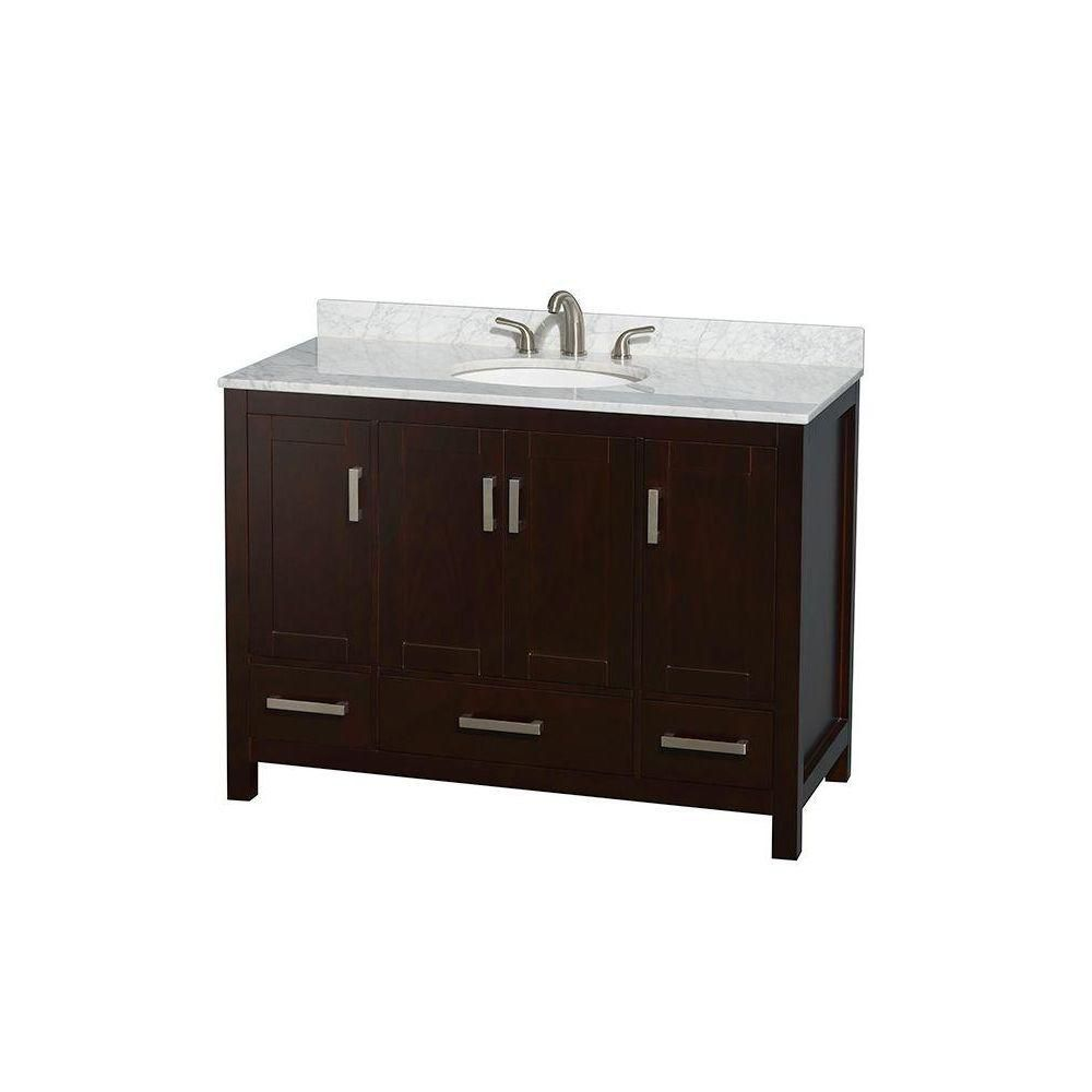 Sheffield 48-inch W Vanity in Espresso with Marble Top in Carrara White