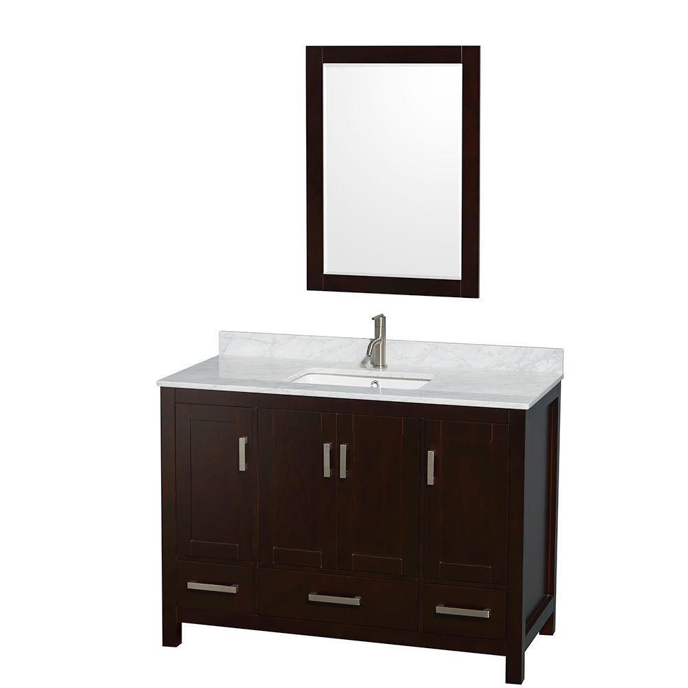 Sheffield 48 po Meuble espresso avec revêtement en marbre blanc Carrare et 24 po Miroir