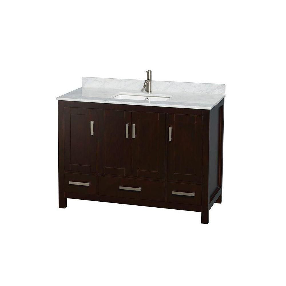 Sheffield 48-inch W Vanity in Espresso Finish with Marble Top in Carrara White