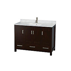 Wyndham Collection Sheffield 48-inch W 3-Drawer 4-Door Freestanding Vanity in Brown With Marble Top in White
