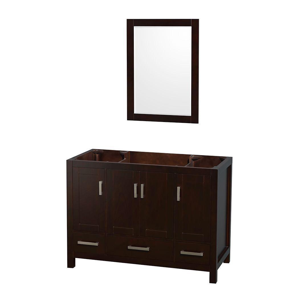 Wyndham Collection Sheffield 48-Inch  Vanity Cabinet with 24-Inch  Mirror in Espresso
