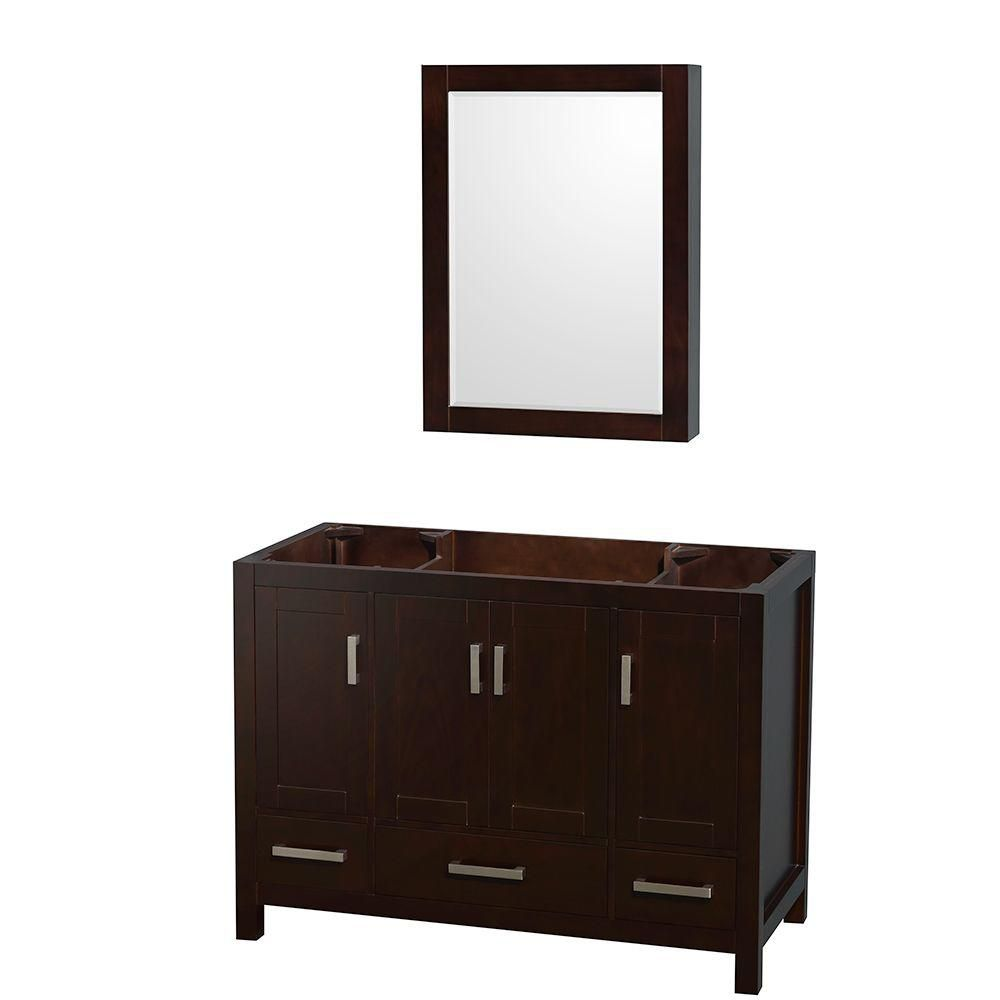Sheffield 48-Inch  Vanity Cabinet with Medicine Cabinet in Espresso