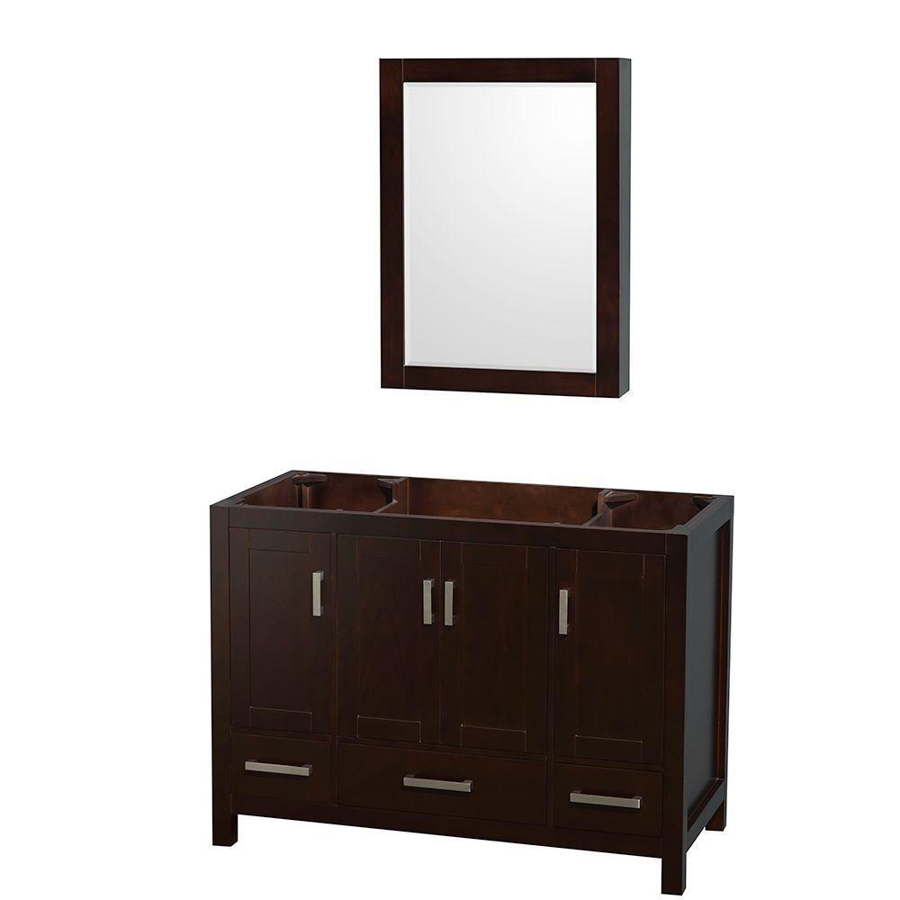 Sheffield 48-Inch  Vanity Cabinet with Medicine Cabinet in Espresso