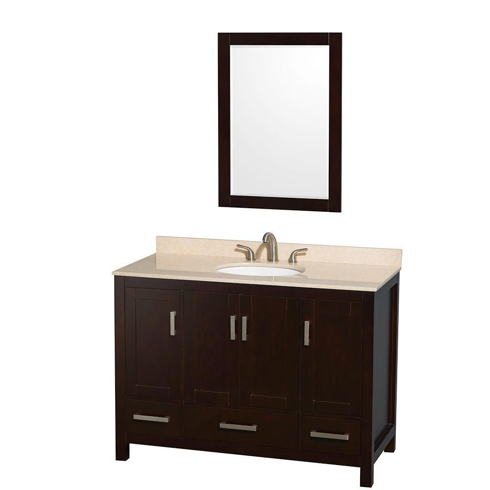 Wyndham Collection Sheffield 48-inch W 3-Drawer 4-Door Vanity in Brown With Marble Top in Beige Tan With Mirror
