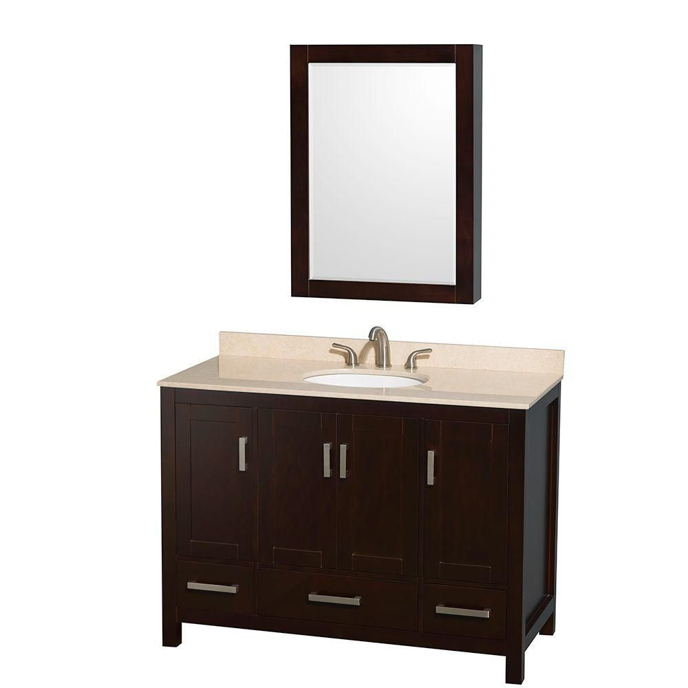 Sheffield 48-inch W Vanity in Espresso with Marble Top and Medicine Cabinet