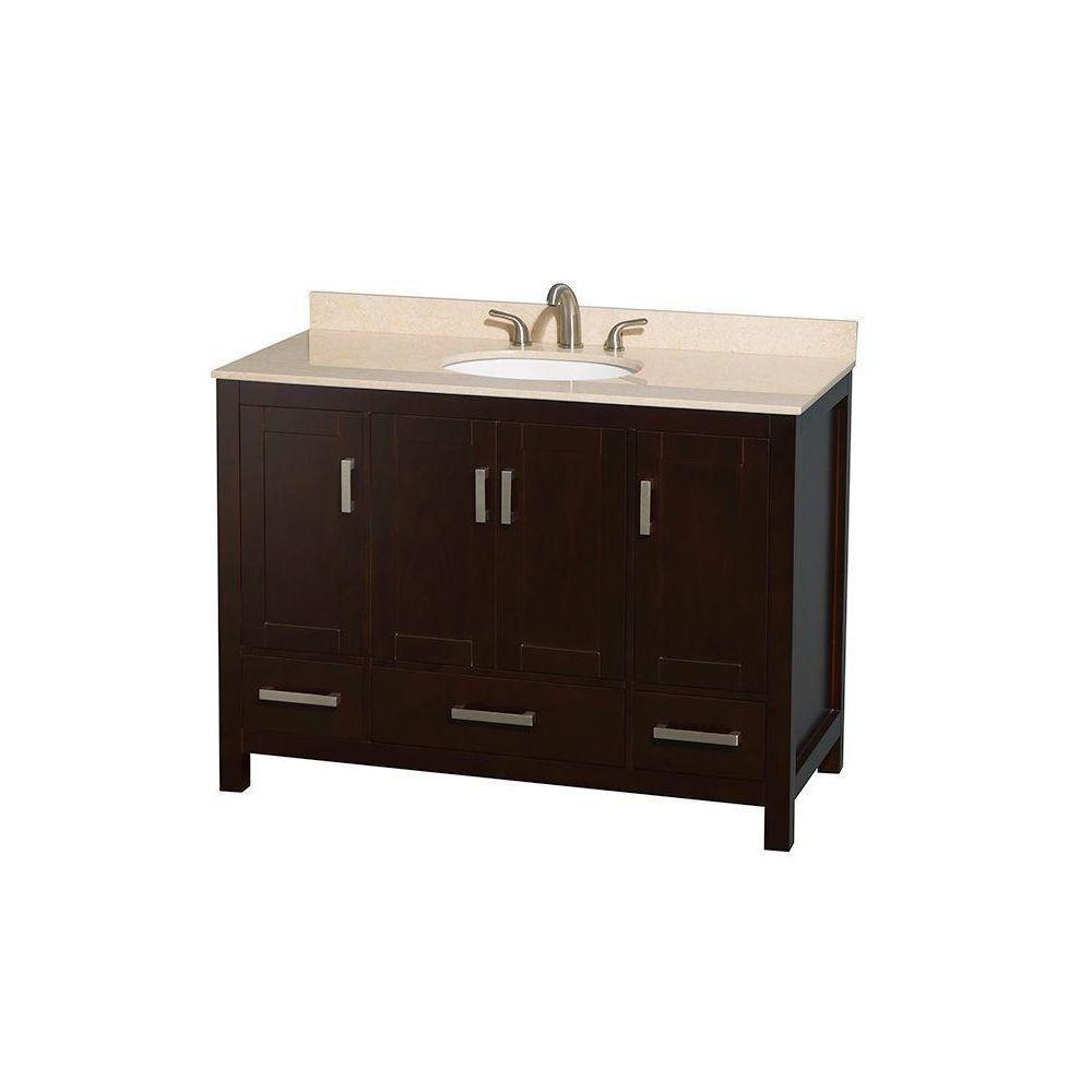 Sheffield 48-inch W 3-Drawer 4-Door Freestanding Vanity in Brown With Marble Top in Beige Tan