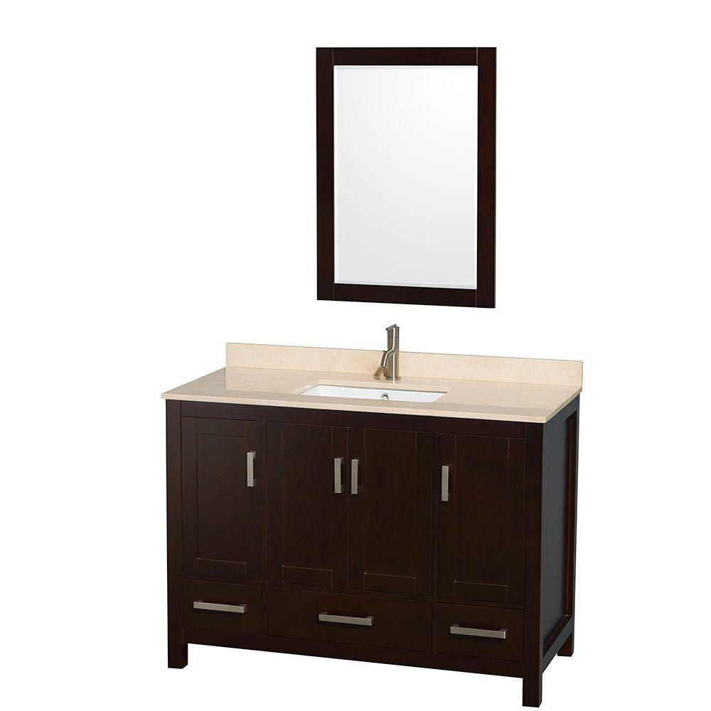 Sheffield 48-inch W Vanity in Espresso with Marble Top in Ivory and Mirror