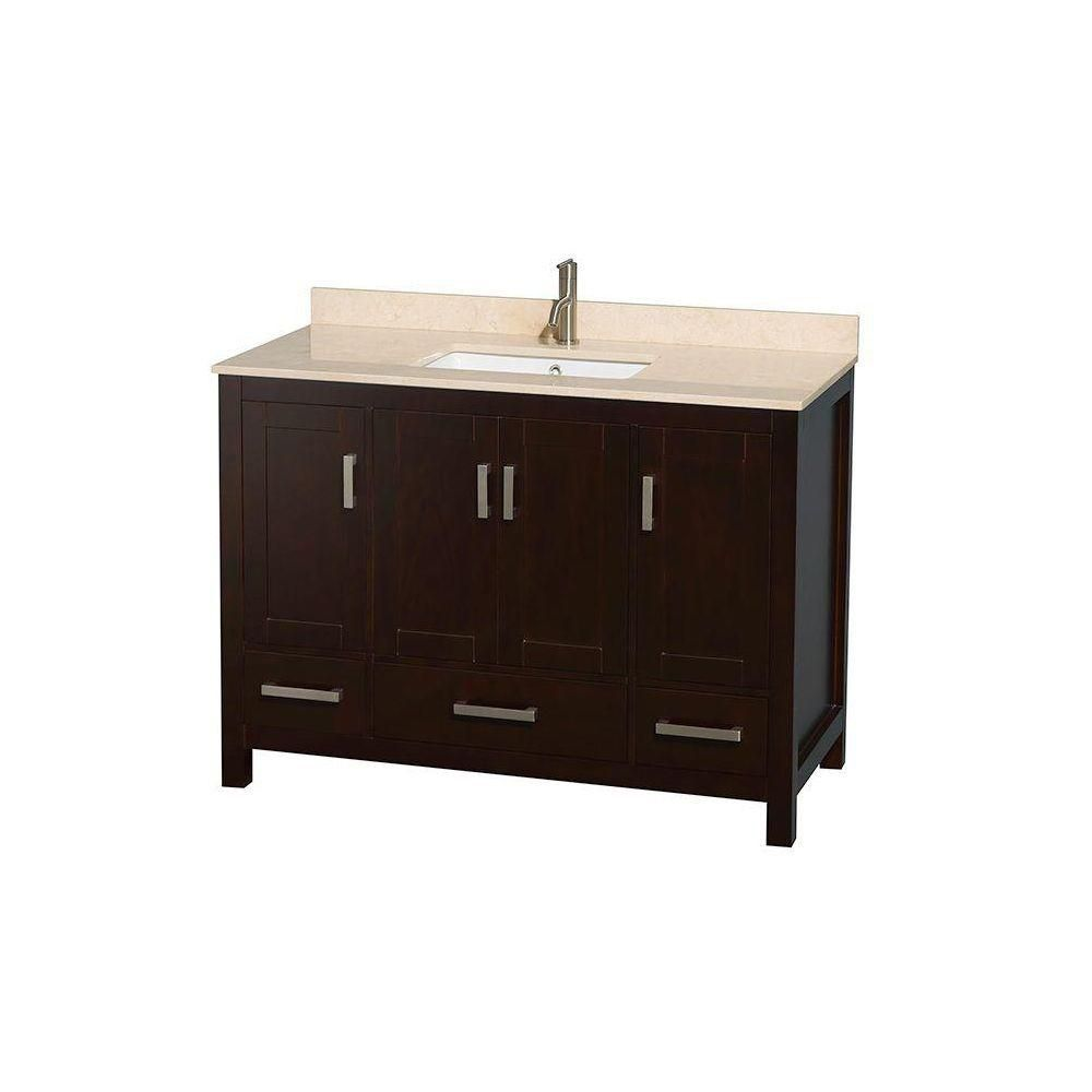 Sheffield 48-inch W Vanity in Espresso with Marble Top in Ivory