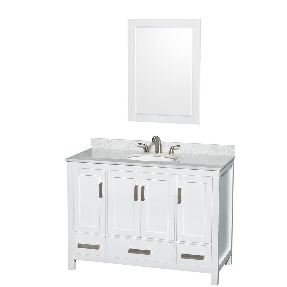 Sheffield 48-inch W Vanity in White with Marble Top in Carrara White and Mirror