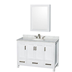 Wyndham Collection Sheffield 48-inch 3-Drawer 4-Door Freestanding Vanity in White With Marble Top in White With Mirror