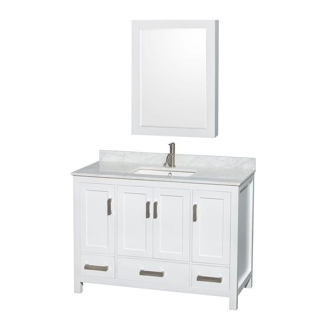 Sheffield 48-inch 3-Drawer 4-Door Freestanding Vanity in White With Marble Top in White With Mirror