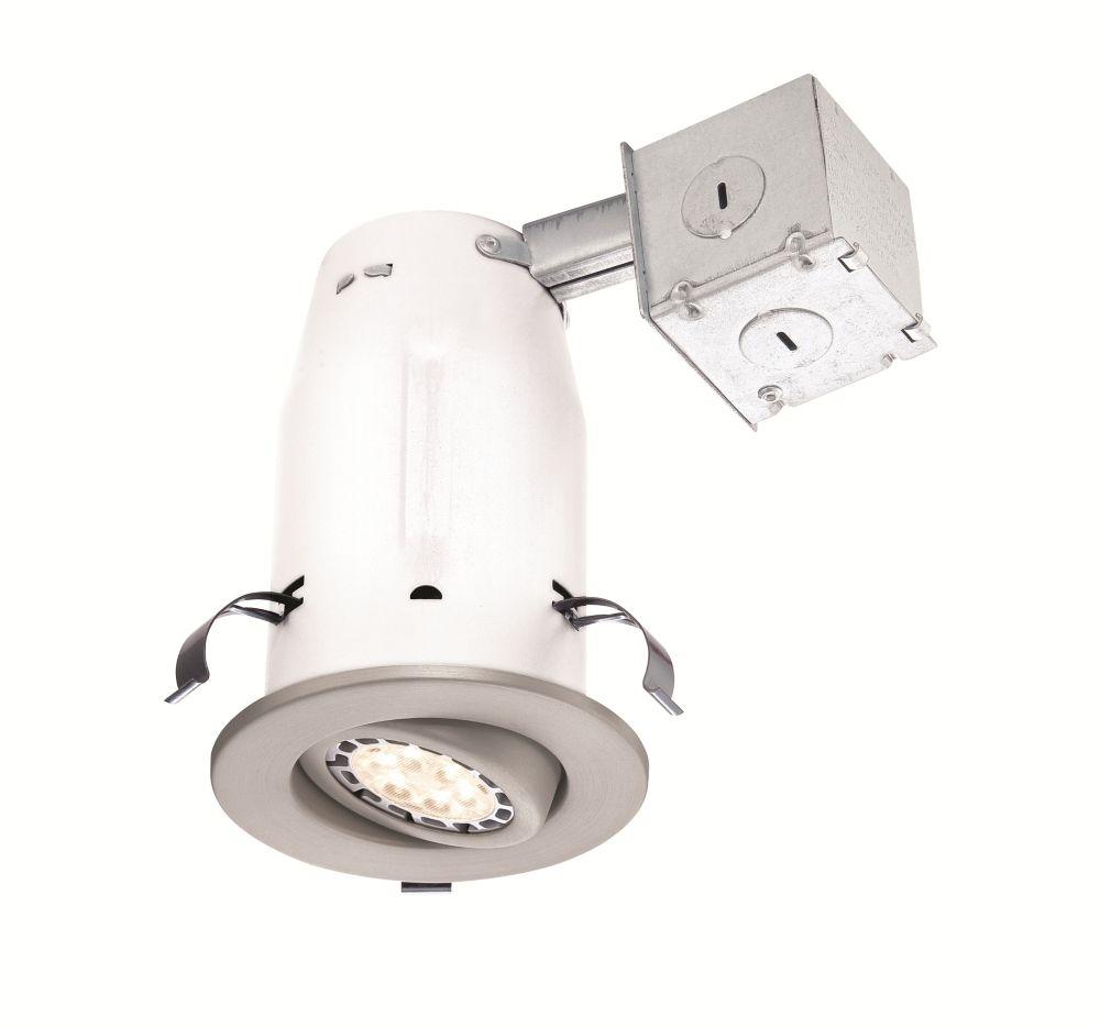 Brushed Nickel Recessed Non-IC Gimbal LED-Lighting Kit - 3 Inch