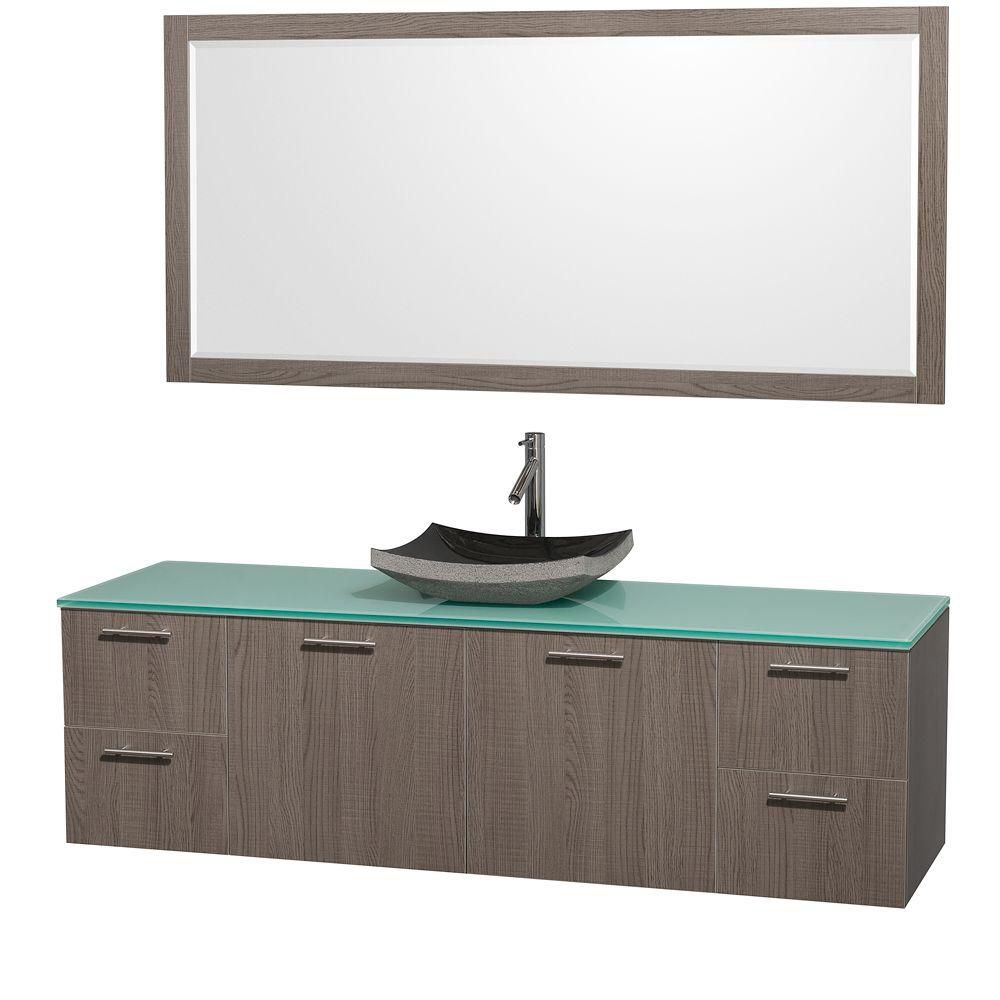 Amare 72-inch W Vanity in Grey Oak with Glass Top in Aqua and Black Granite Sink
