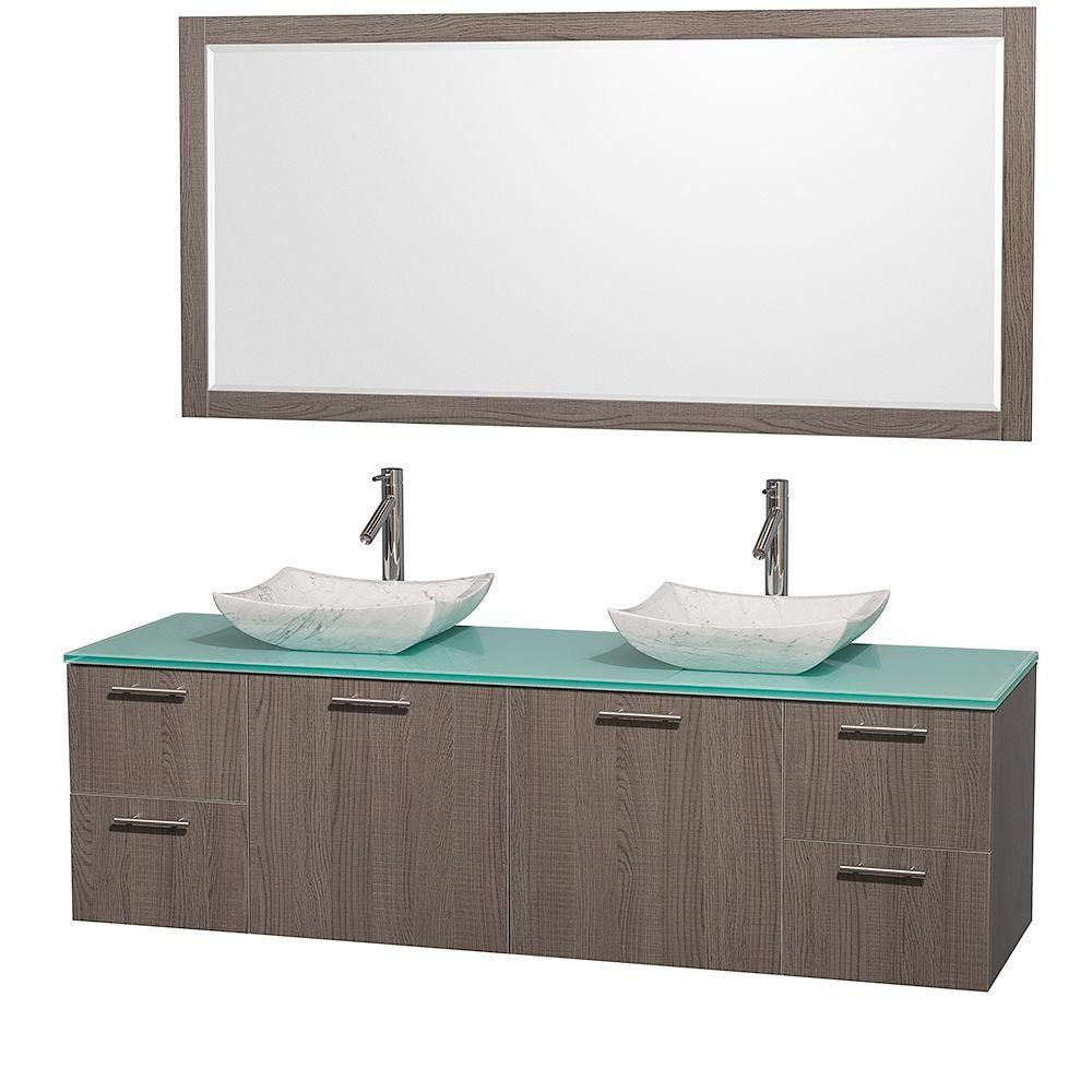 Amare 72-inch W Double Vanity in Grey Oak with Glass Top in Aqua and Carrara Marble Sinks