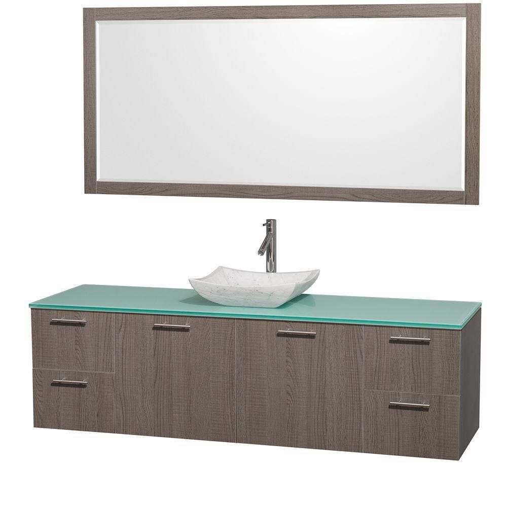 Amare 72-inch W Vanity in Grey Oak with Glass Top in Aqua and Carrara Marble Sink