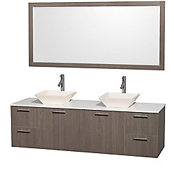 Wyndham Collection Amare 72-inch W 4-Drawer 2-Door Vanity in Grey With Artificial Stone Top in Bone Colour, Double Basins