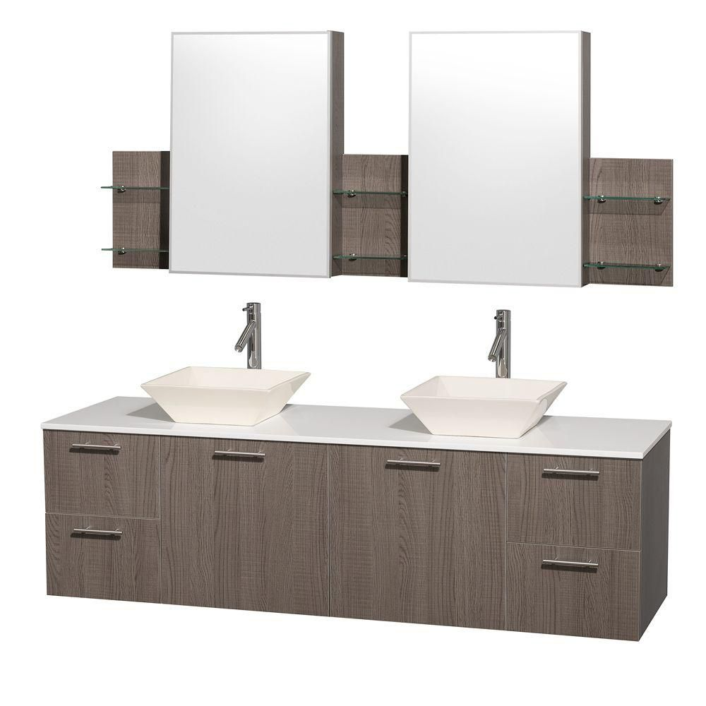 Amare 72-inch W Double Vanity in Grey Oak with Stone Top and Bone Porcelain Sinks