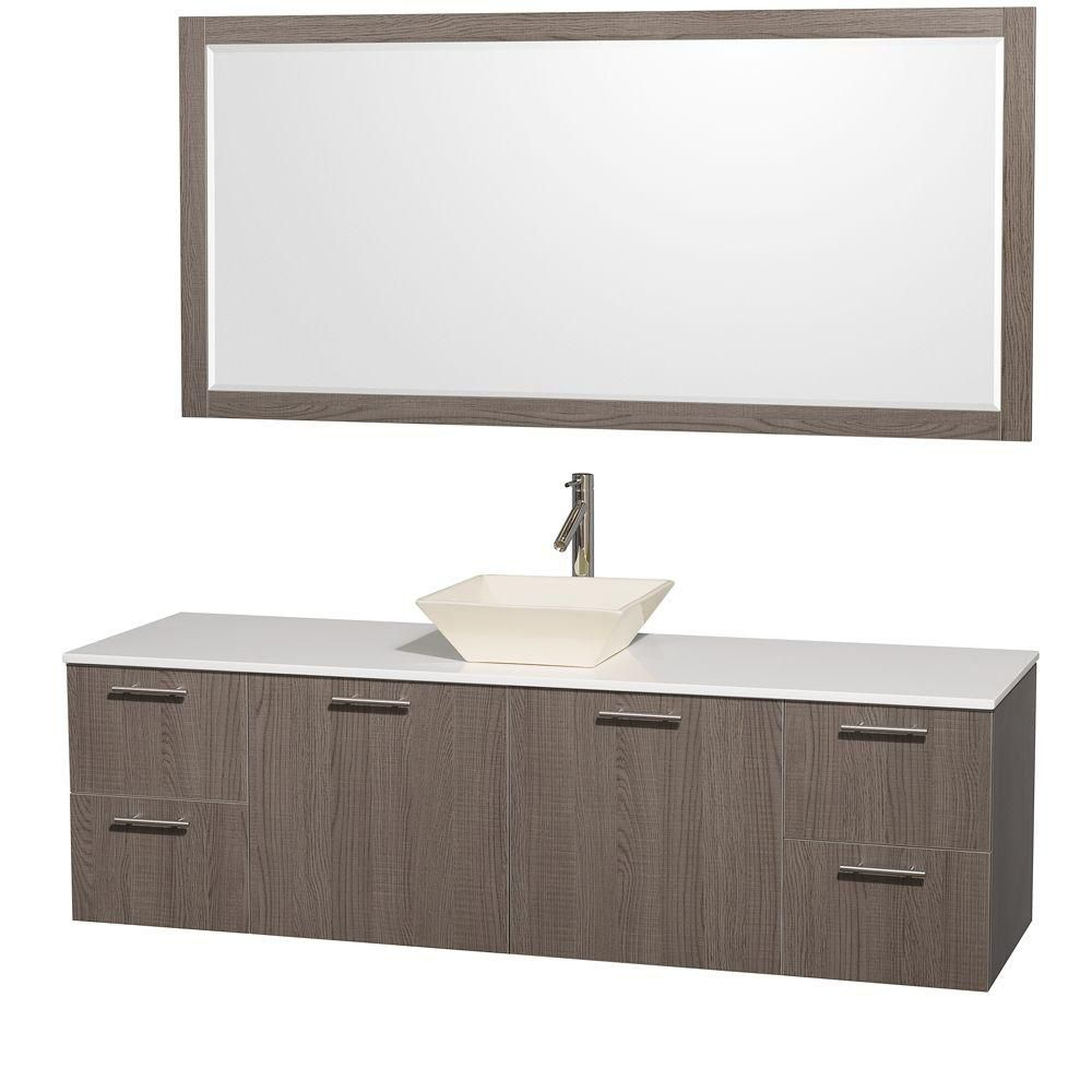 Amare 72-inch W Vanity in Grey Oak with Stone Top and Bone Porcelain Sink