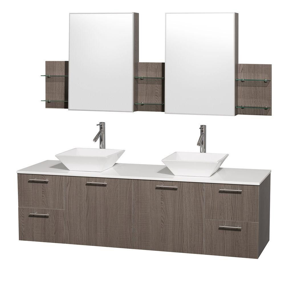 Amare 72-inch W Double Vanity in Grey Oak with Stone Top in White and Porcelain Sinks