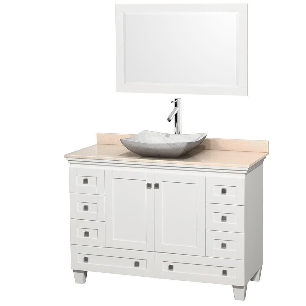 Acclaim 48 po Meuble blanc simple et revêtement ivoire, évier Carrare blanc et miroir