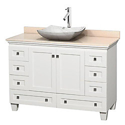 Wyndham Collection Acclaim 48-inch W 8-Drawer 2-Door Freestanding Vanity in White With Marble Top in Beige Tan