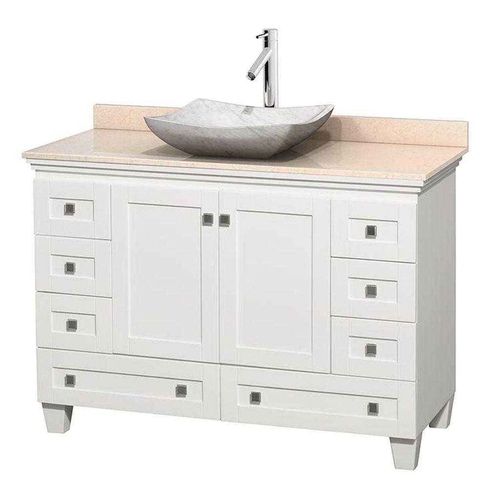 Acclaim 48-inch W 8-Drawer 2-Door Freestanding Vanity in White With Marble Top in Beige Tan