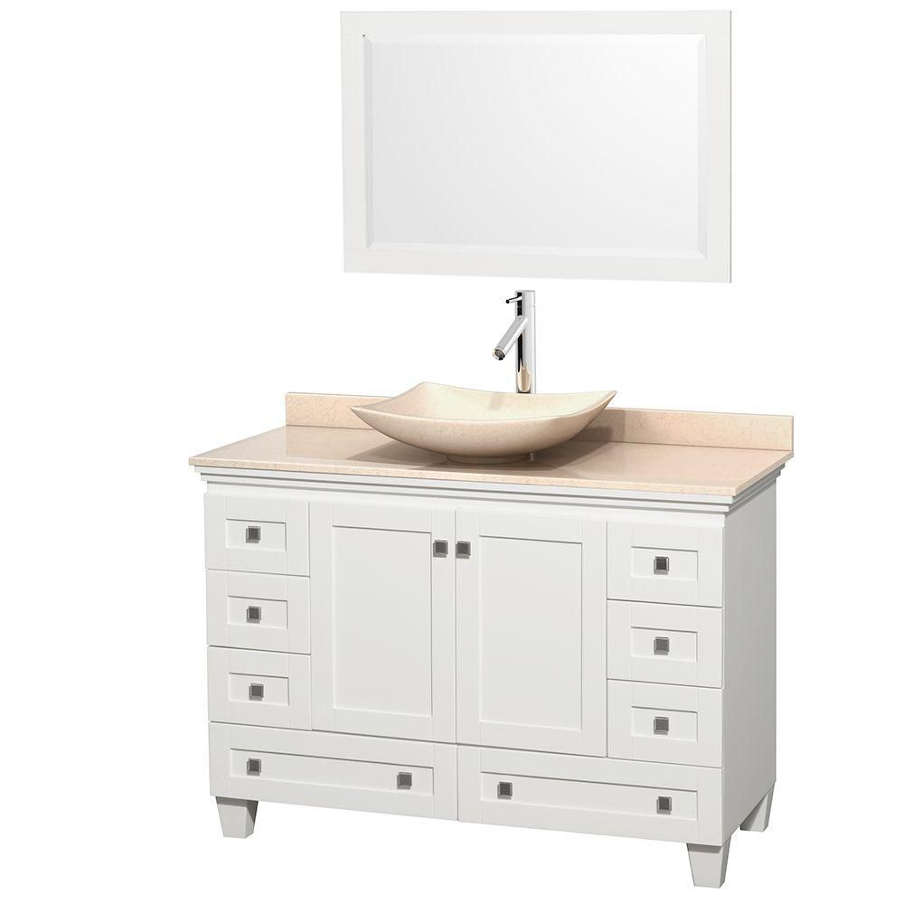 Acclaim 48-inch W Vanity in White with Top in Ivory, Ivory Sink and Mirror
