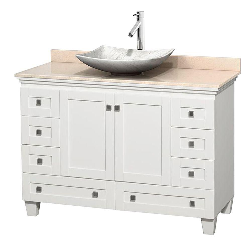 Acclaim 48-inch W Vanity in White with Top in Ivory and White Carrara Sink