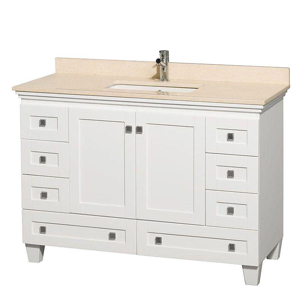 Acclaim 48 po Meuble simple blanc et revêtement ivoire, évier carré et sans miroir