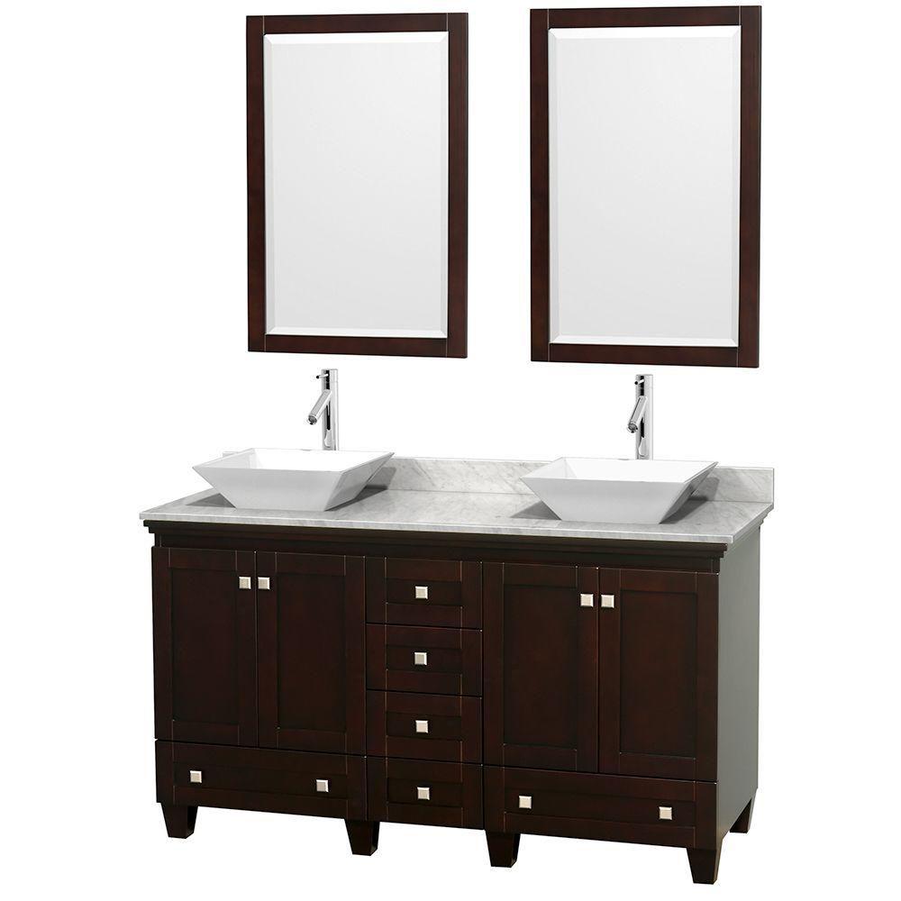 Acclaim 60 po Meuble double espresso avec revêtement blanc Carrare, éviers blancs et miroirs