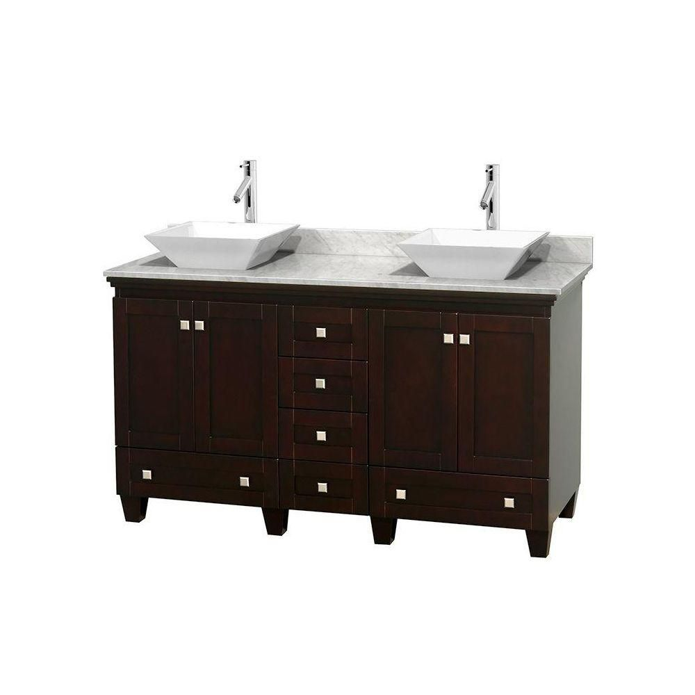 Acclaim 60-inch W Double Vanity in Espresso with Top in Carrara White and White Sinks