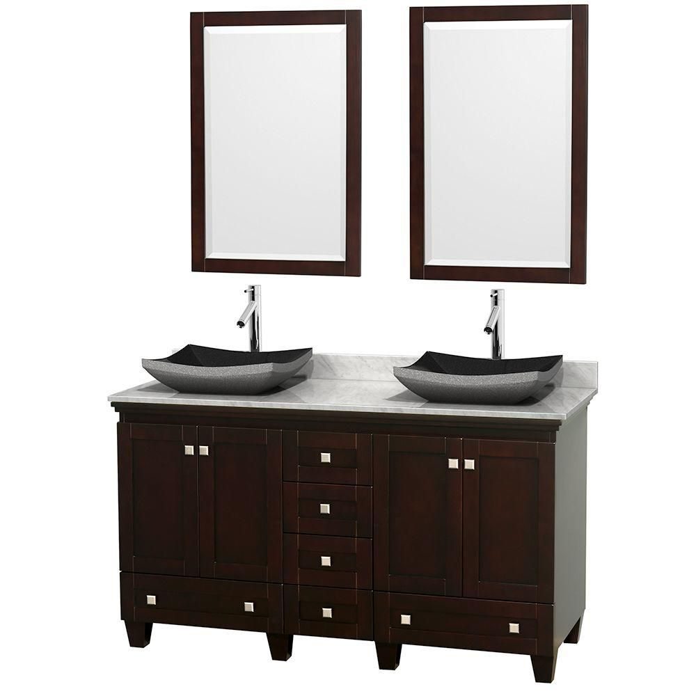 Acclaim 60-inch W Double Vanity in Espresso with Top in Carrara White, Black Sinks and Mirrors