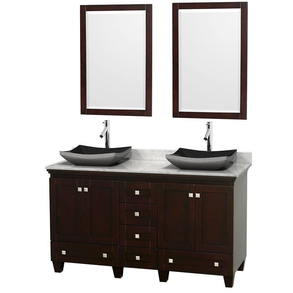 Acclaim 60 po Meuble double espresso avec revêtement blanc Carrare, éviers noirs et miroirs