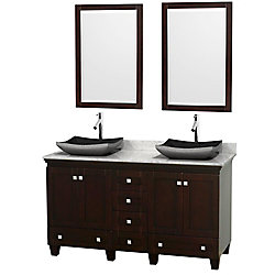 Wyndham Collection Acclaim 60-inch W 6-Drawer 4-Door Vanity in Brown With Marble Top in White, 2 Basins With Mirror