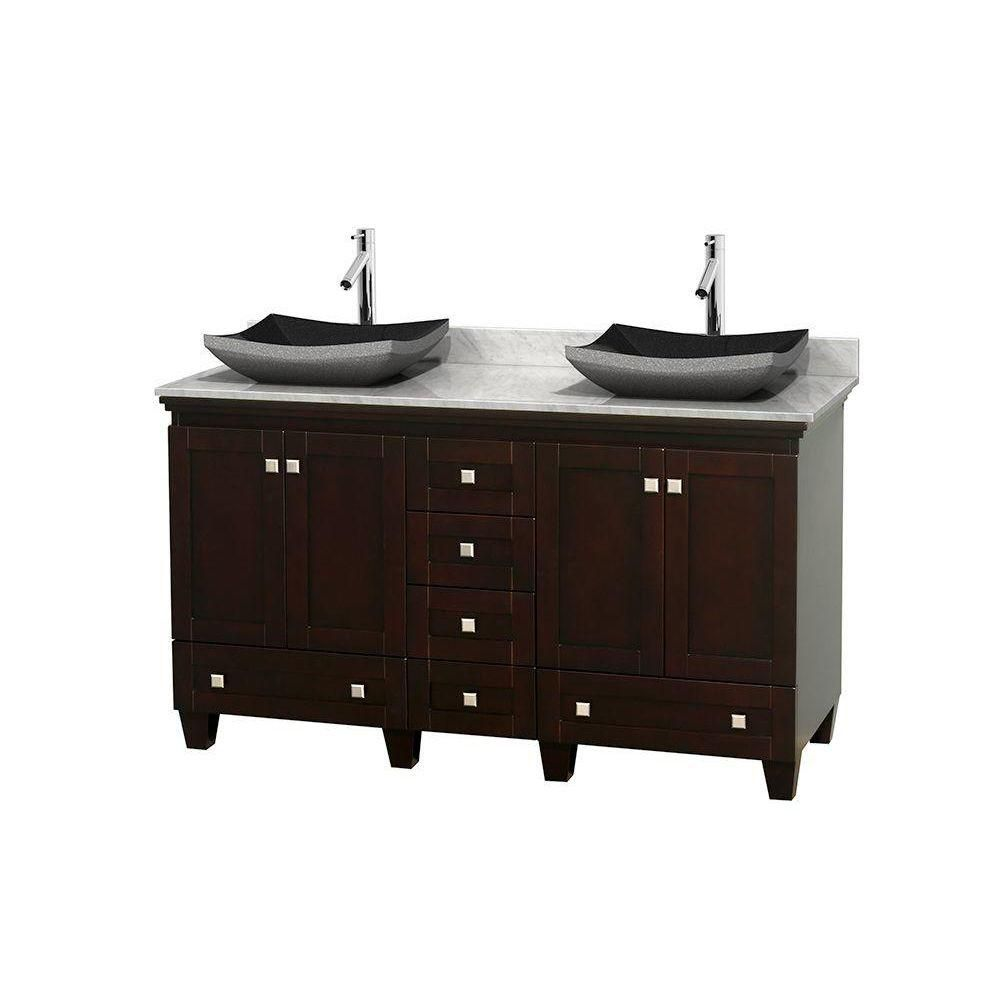 Acclaim 60-inch W Double Vanity in Espresso with Top in Carrara White and Black Sinks
