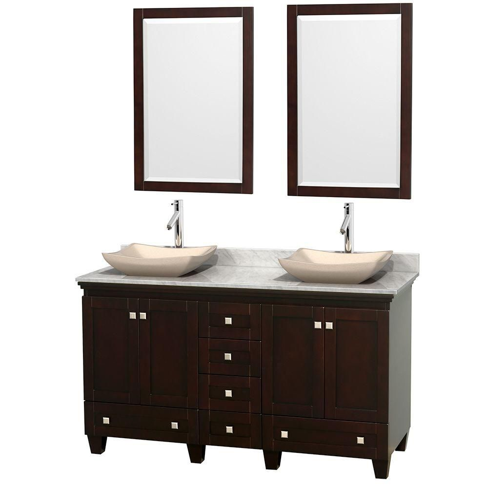 Acclaim 60-inch W Double Vanity in Espresso with Top in Carrara White, Ivory Sinks and Mirrors