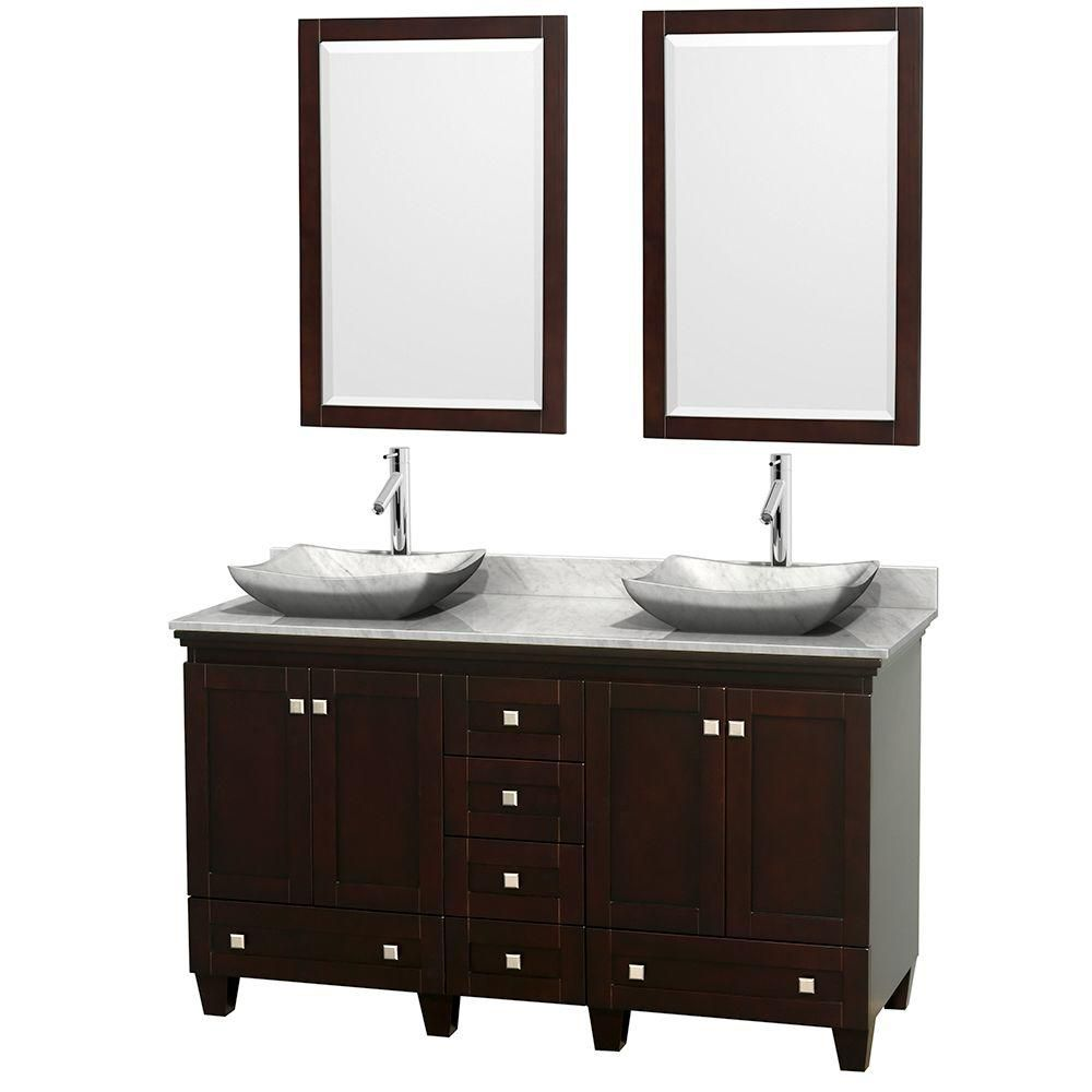 Acclaim 60-inch W Double Vanity in Espresso with Top in Carrara White, Sinks and Mirror