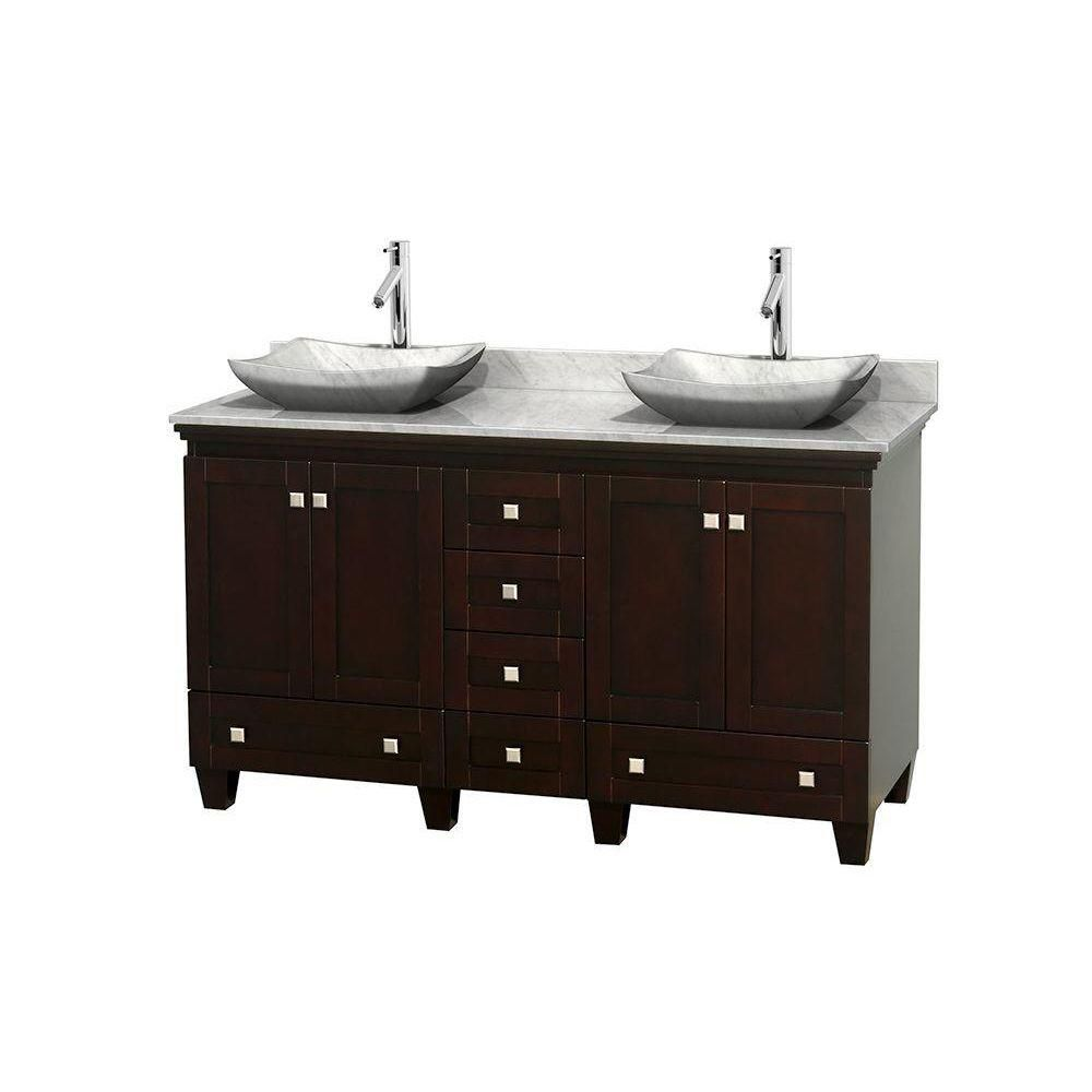 Acclaim 60-inch W Vanity in Espresso with Top in Carrara White and White Carrara Sinks
