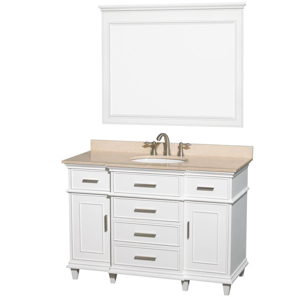 Berkeley 48-inch W Vanity in White with Marble Top in Ivory, Oval Sink and Mirror