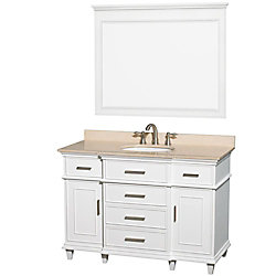 Wyndham Collection Berkeley 48-inch W 5-Drawer 2-Door Vanity in White With Marble Top in Beige Tan With Mirror