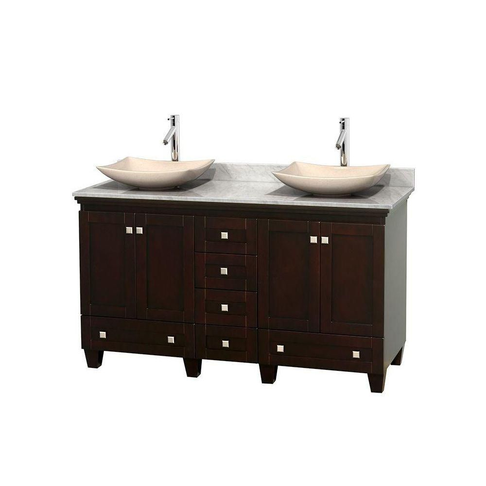 Acclaim 60-inch W Double Vanity in Espresso with Top in Carrara White and Ivory Sinks