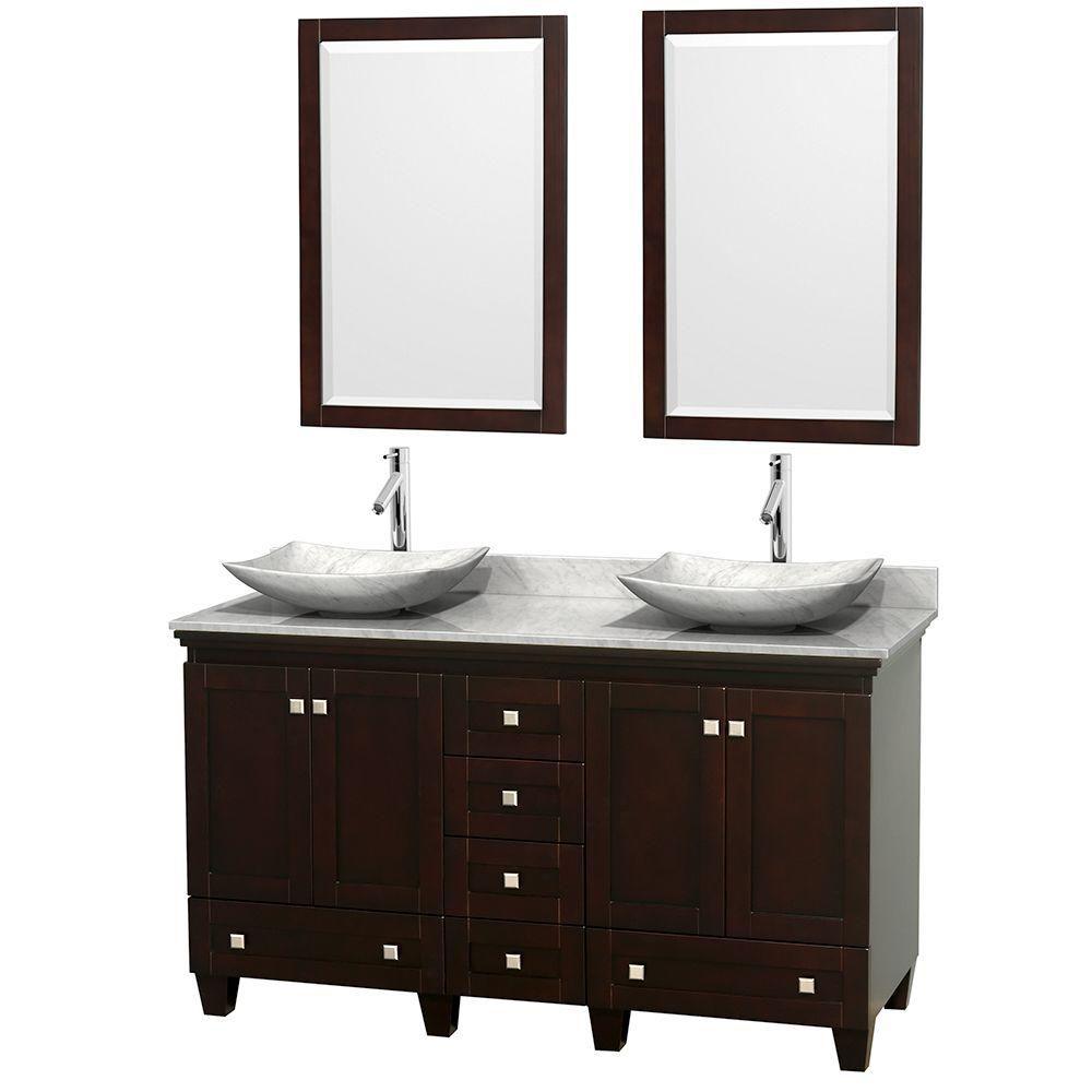 Acclaim 60 po Meuble dbl. espresso et revêtement blanc Carrare, éviers Carrare blanc et miroirs