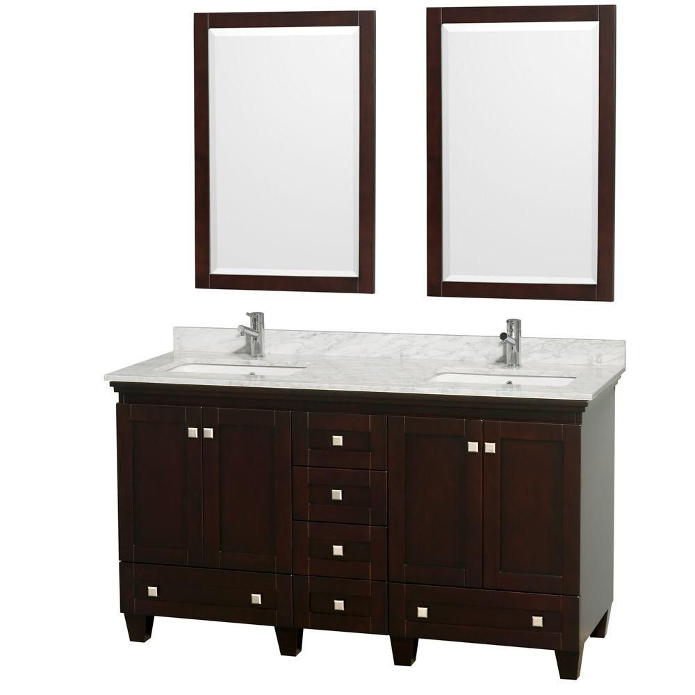 Acclaim 60-inch W Double Vanity in Espresso with Top in Carrara White, Square Sinks and Mirrors