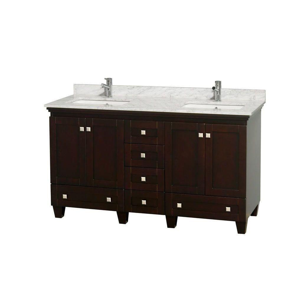 Acclaim 60-inch W Double Vanity in Espresso with Top in Carrara White and Square Sinks
