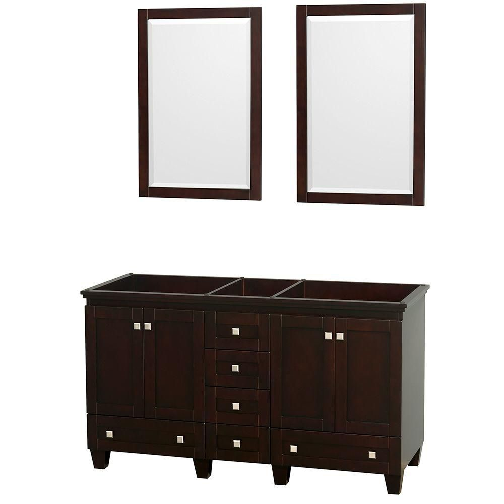 Acclaim 60-inch W Double Vanity in Espresso Finish with Mirrors