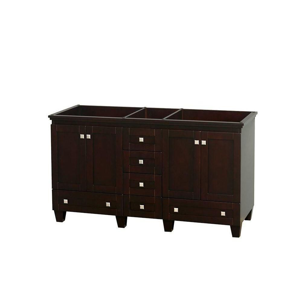 Acclaim 60-inch W 6-Drawer 4-Door Vanity in Brown