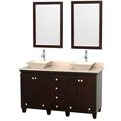 Wyndham Collection Acclaim 60 po Meuble dbl. espresso et revêtement ivoire, éviers couleur os et miroir
