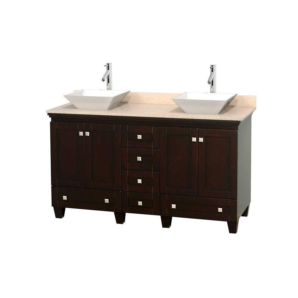 Acclaim 60-inch W Double Vanity in Espresso with Top in Ivory and White Sinks